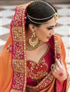 photo of Orange Color Wedding Wear Silk Fabric Designer Embroidered Saree