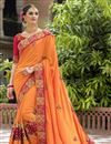 image of Orange Color Bridal Wear Embroidered Designer Saree In Silk Fabric