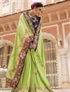 photo of Green Color Wedding Wear Fancy Silk Fabric Designer Embroidered Saree