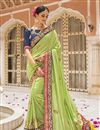 image of Embroidered Green Color Bridal Wear Fancy Silk Designer Saree