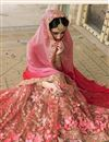 photograph of Bridal Wear Net And Fancy Silk Fabric Embroidered Designer Saree In Pink Color