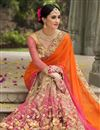 photo of Bridal Wear Net And Fancy Silk Fabric Embroidered Designer Saree In Orange And Pink Color