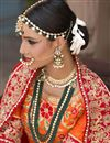 photo of Banarasi Silk Fabric Bridal Wear Embroidered Lehenga Choli In Beige Color