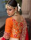 picture of Banarasi Silk Fabric Bridal Wear Embroidered Lehenga Choli In Beige Color