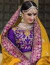 photo of Pink Color Bridal Wear Embroidered Designer Lehenga Choli In Banarasi Silk Fabric