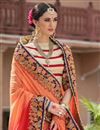photo of Red And Orange Color Bridal Wear Embroidered Designer Saree In Fancy Silk Fabric