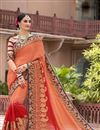 image of Red And Orange Color Bridal Wear Embroidered Designer Saree In Fancy Silk Fabric