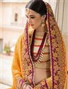 photo of Yellow And Orange Color Bridal Wear Embroidered Designer Saree In Fancy Silk Fabric
