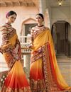 image of Yellow And Orange Color Wedding Wear Fancy Silk Fabric Designer Embroidered Saree