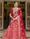 image of Banglori Silk Fabric Wedding Wear Embroidered Lehenga Choli In Red Color