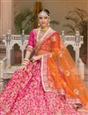 photograph of Pink Color Banglori Silk Bridal Wear Embroidered Lehenga Choli