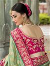 photo of Pink And Green Color Bridal Wear Embroidered Designer Saree In Jacquard Fabric