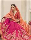 photo of Pink And Orange Color Wedding Wear Jacquard Fabric Designer Embroidered Saree