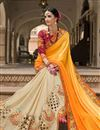 photo of Fancy Silk Fabric Bridal Wear Beige And Yellow Color Designer Saree With Embroidery