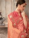 photo of Silk Fabric Wedding Wear Designer Peach And Pink Color Saree With Embroidery Work