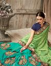 photo of Designer Green And Sea Green Color Fancy Fabric Wedding Wear Embroidered Saree