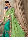 image of Designer Green And Sea Green Color Fancy Fabric Wedding Wear Embroidered Saree