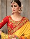 photo of Fancy Fabric Wedding Wear Designer Yellow And Orange Color Saree With Embroidery Work