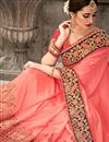 photo of Fancy Fabric Wedding Wear Designer Pink Color Saree With Embroidery Work