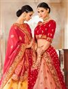 photo of Reception Wear Designer Embroidered Lehenga Choli In Beige Art Silk Fabric