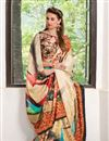 photo of Cream Color Silk Fabric Captivating Party Wear Printed Saree