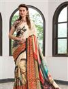 image of Cream Color Silk Fabric Captivating Party Wear Printed Saree