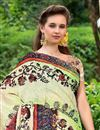 photo of Silk Fabric Impressively Printed Saree In Green And Cream Color With Blouse