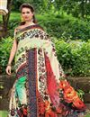 image of Silk Fabric Impressively Printed Saree In Green And Cream Color With Blouse
