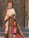 image of Beautifully Printed Designer Saree In Ravishing Cream Color