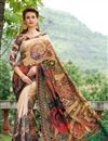 image of Silk Festive Wear Saree In Cream Color With Artistic Print Designs