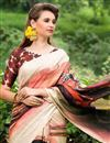 photo of Cream Color Beautiful Party Wear Printed Saree