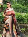image of Cream Color Beautiful Party Wear Printed Saree