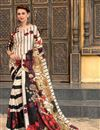 image of Silk Fabric Impressively Printed Saree In Cream Color With Blouse