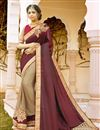 image of Soothing Georgette And Net Fabric Party Wear Beige And Maroon Color Designer Saree With Embroidery Work