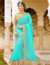 image of Beautifully Embroidered Turquoise Color Georgette And Net Designer Saree