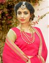 photo of Festive Wear Georgette And Net Embroidered Designer Saree In Pink And Beige Color With Unstitched Blouse