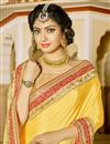 photo of Yellow Color Chinon And Georgette Designer Embroidered Saree With Unstitched Raw Silk Blouse