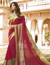 image of Soothing Georgette And Net Fabric Party Wear Pink Color Designer Saree With Embroidery Work