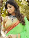 photo of Festive Wear Georgette Embroidered Designer Saree In Green Color With Unstitched Blouse