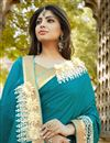 photo of Party Wear Teal Color Embroidered Designer Saree In Silk And Georgette Fabric