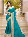 image of Party Wear Teal Color Embroidered Designer Saree In Silk And Georgette Fabric