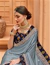 photo of Border Work Fancy Wedding Wear Saree In Grey