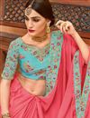 photo of Pink Fancy Embroidered Party Wear Saree with Heavy Border