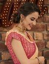 photo of Peach Fancy Chiffon Fabric Sangeet Wear Embroidered Saree