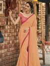 image of Peach Fancy Chiffon Fabric Sangeet Wear Embroidered Saree