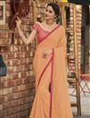 image of Peach Fancy Chiffon Fabric Sangeet Wear Embroidered Saree