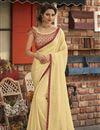 image of Fancy Chiffon Fabric Sangeet Wear Beige Embroidered Saree