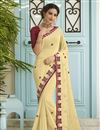 image of Sangeet Wear Fancy Beige Embroidered Saree In Chiffon Fabric