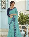 image of Cyan Fancy Chiffon Fabric Sangeet Wear Embroidered Saree