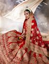 image of Red Color Bridal Lehenga Choli in Velvet Fabric with Embroidery